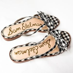 SAM EDELMAN Plaid Stud Bow Flat Sandal Leather 8.5